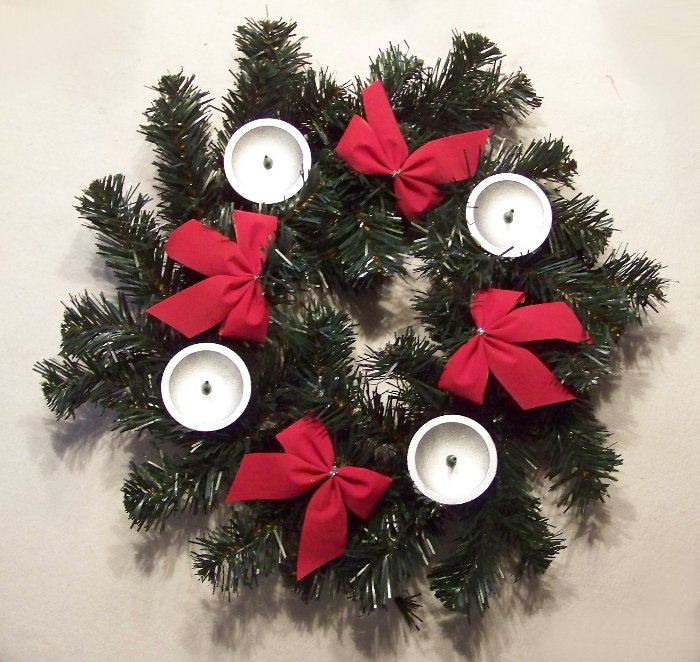 k nstlicher adventskranz mit schleifen und kerzenhalter 35 cm advent kranz ebay. Black Bedroom Furniture Sets. Home Design Ideas