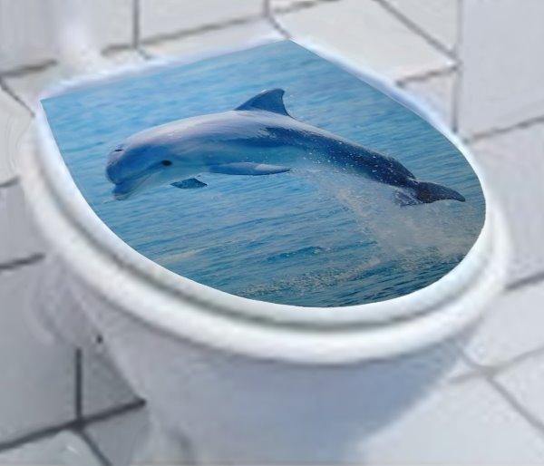 wc deckel dekor aufkleber toilettendekor katze delphin. Black Bedroom Furniture Sets. Home Design Ideas